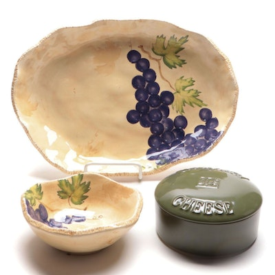 "Ganz ""Bella Casa"" Platter and Dip Bowl with Gourmet Village Covered Dish"
