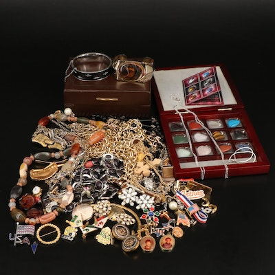 Jewelry Including Bakelite, Heart Shaped Pendants, Cameo Earrings and Sterling