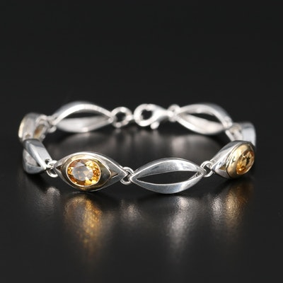 Sterling Silver Citrine Link Bracelet with 18K Bezel Accents
