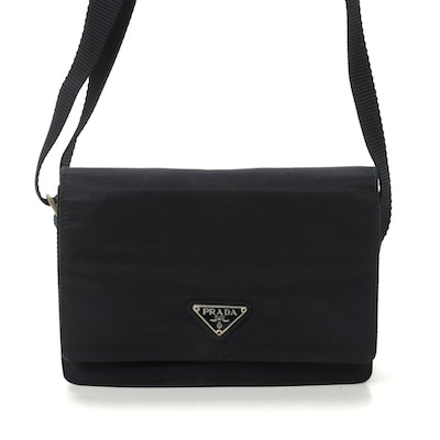 Prada Flap Front Shoulder Bag in Midnight Tessuto Nylon