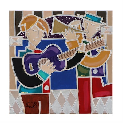 """Eric Waugh Figural Embellished Giclée """"Musical Moment"""""""