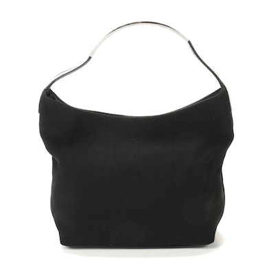 Gucci Black Nylon and Leather Hobo Shoulder Bag with Metal Accented Handle