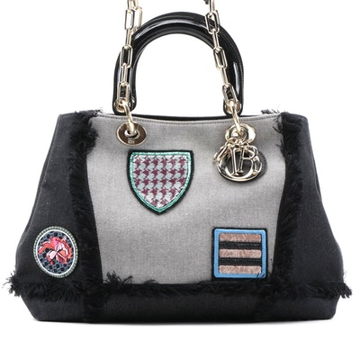 Christian Dior D Light Tote Bag in Denim with Patch Appliqué