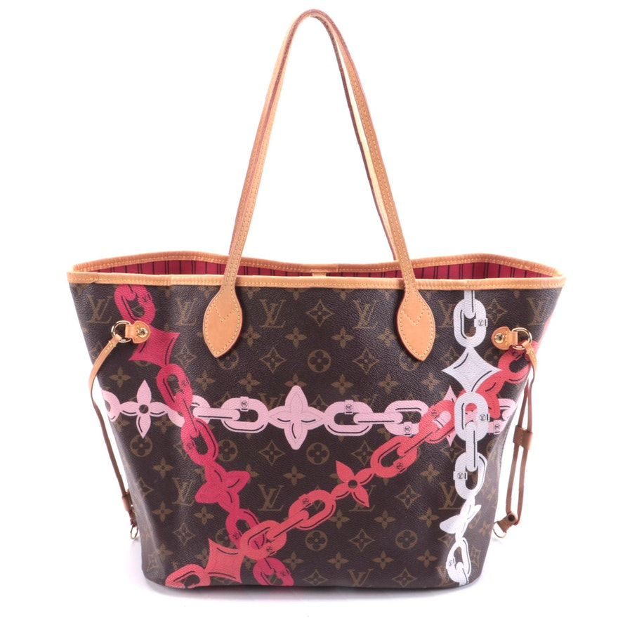 Louis Vuitton Neverfull NM Limited Edition Chain Link Print Monogram Canvas Tote