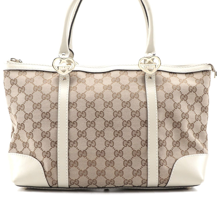 Gucci Lovely Hearts Interlocking G Small Tote in GG Canvas