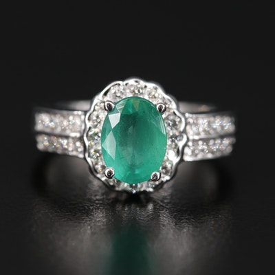 14K 1.37 CT Emerald and Diamond Ring
