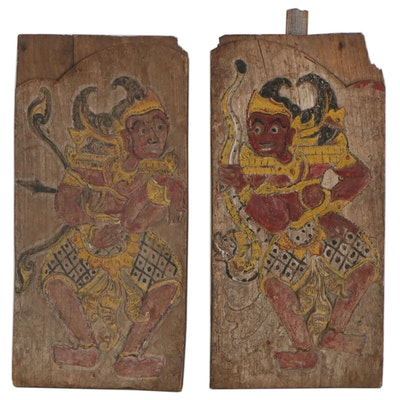 Indonesian Carved Wood Relief with Painted Figures