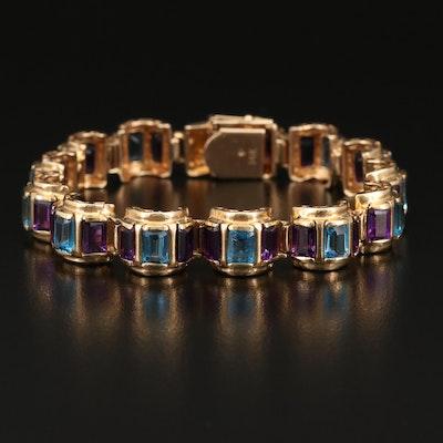 14K Topaz and Amethyst Domed Link Bracelet