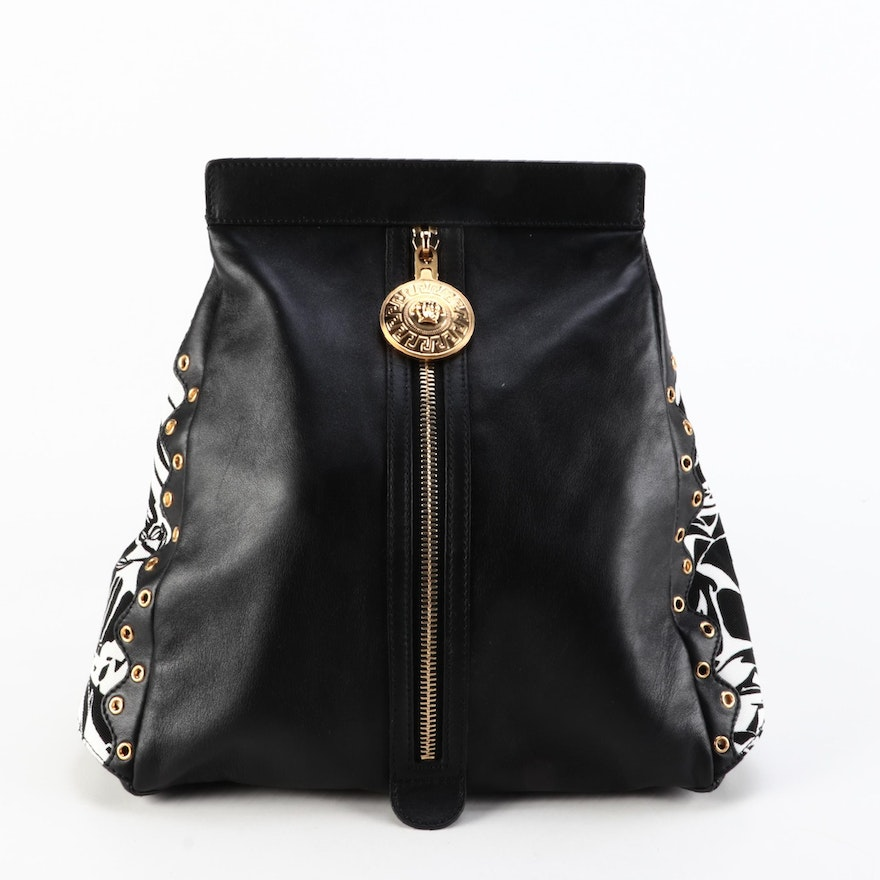 Versace Medusa Sling Bag in Black Leather with Printed Canvas and Grommet Trim