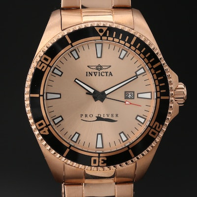 Invicta Pro Diver Rose Gold Tone Quartz Wristwatch