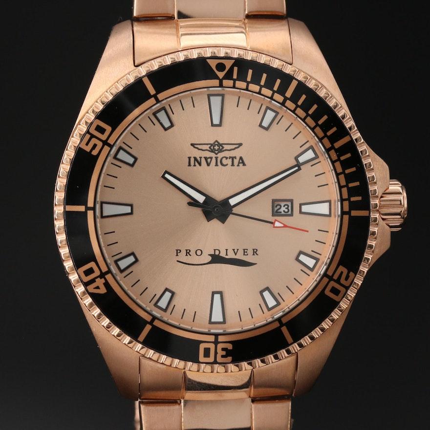 Invicta Pro Diver Rose Gold Tone Quartz Wristwatch