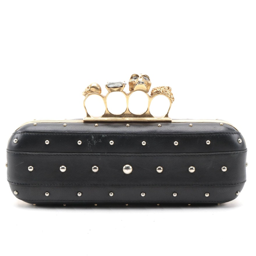 Alexander McQueen Knuckle Box Clutch in Black Studded Leather