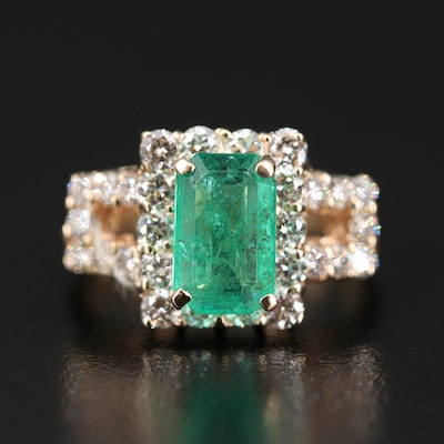 14K 1.89 CT Emerald and 1.22 CTW Diamond Halo Square Ring