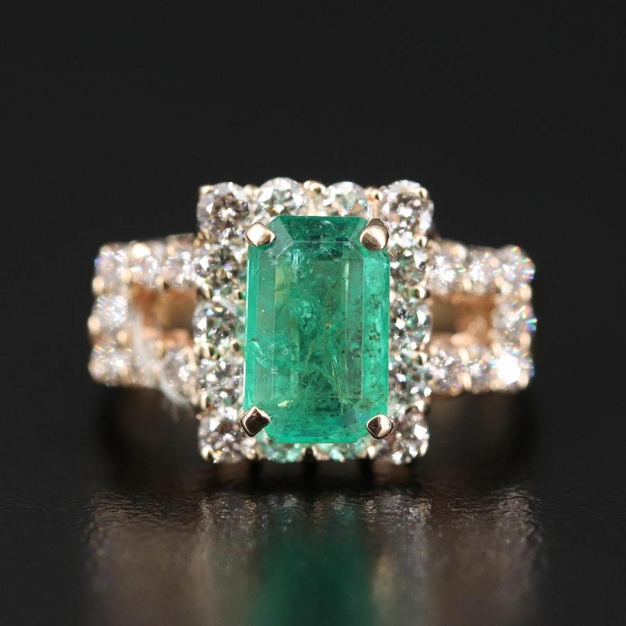14K 1.89 CT Emerald and 1.22 CTW Diamond Halo Square Ring
