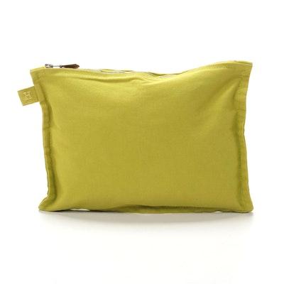 Hermès Zip Pouch in Chartreuse Cotton Canvas