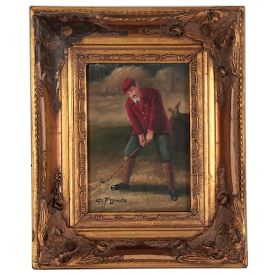 Oil Painting of a Man Golfing, Early 20th Century