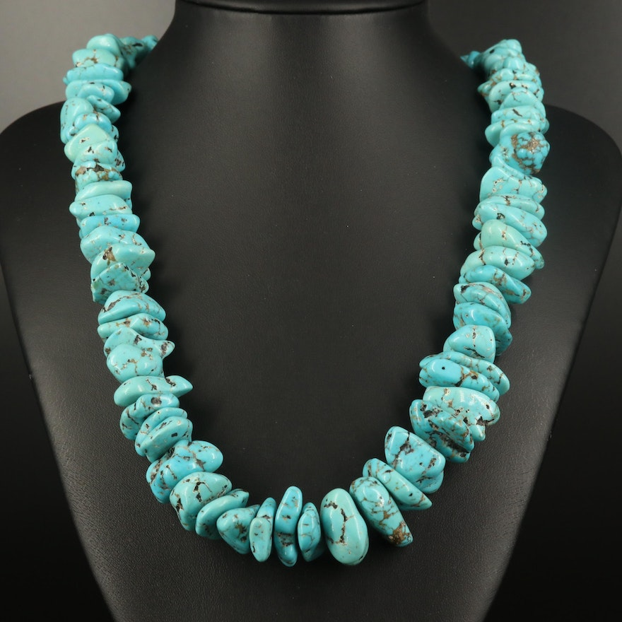 Turquoise and Shell Heishi Necklace