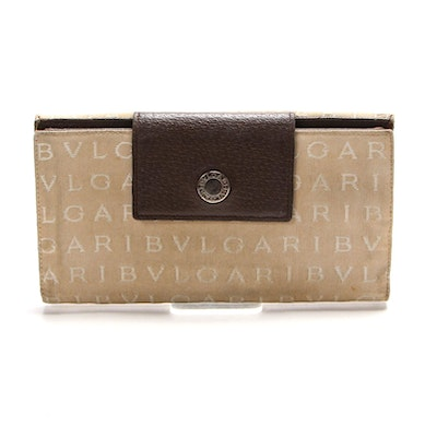 Bvlgari Continental Wallet in Monogram Canvas and Leather