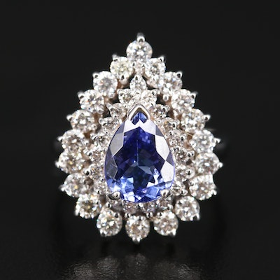 14K 1.53 CT Tanzanite and 1.91 CTW Diamond Double Halo Teardrop Ring