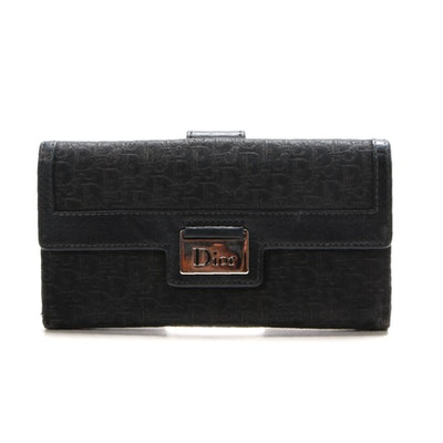 Christian Dior Black Dior Oblique Jacquard and Leather Wallet