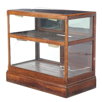 American Oak Country Store Tobacco Display Cabinet, Early 20th Century