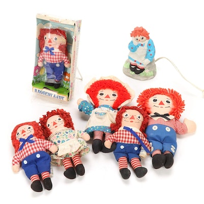 Raggedy Ann and Andy Dolls and Knickerbocker Lamp, Mid-20th Century