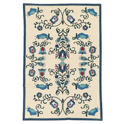 6' x 9' Handmade Indian Floral Needlepoint Area Rug