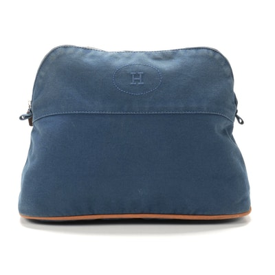 Hermès Bolide Travel Pouch in Blue Cotton Canvas and Leather Trim
