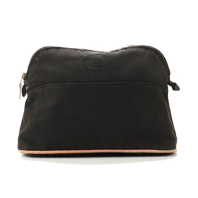 Hermès Bolide Travel Pouch in Black Cotton Canvas with Leather Trim