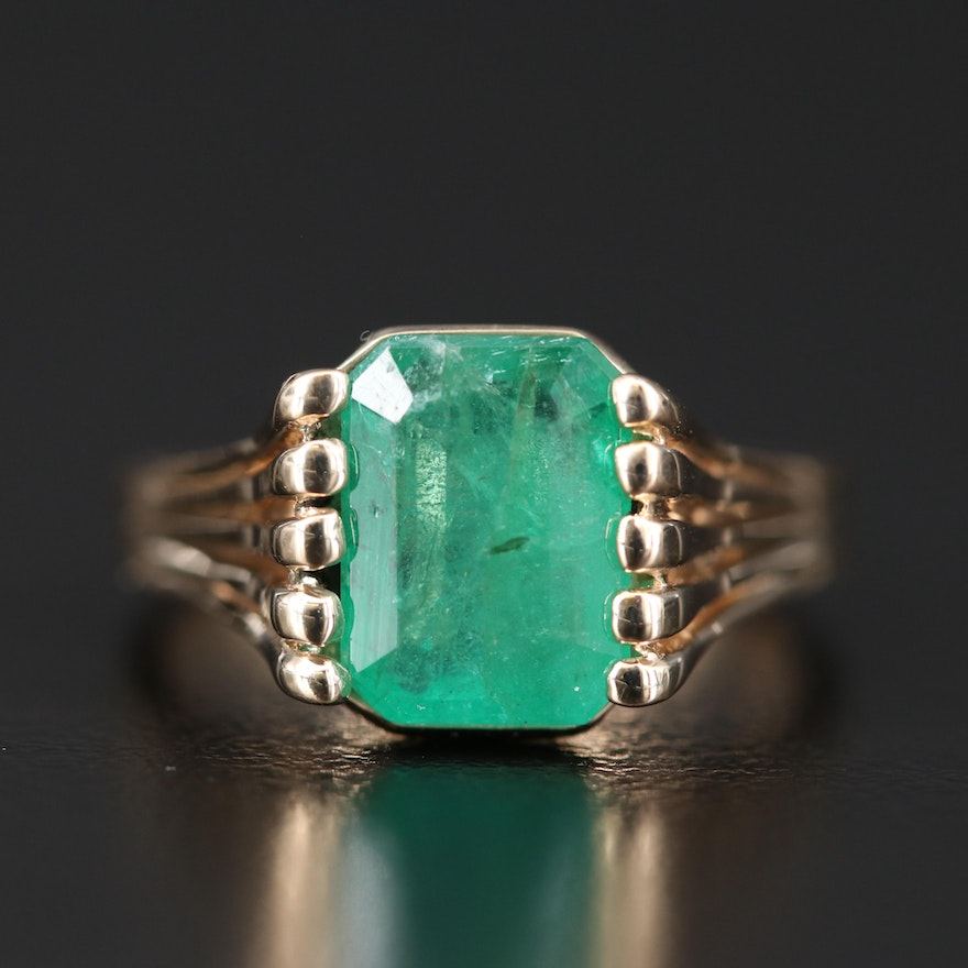14K 2.30 CT Emerald Solitaire Ring