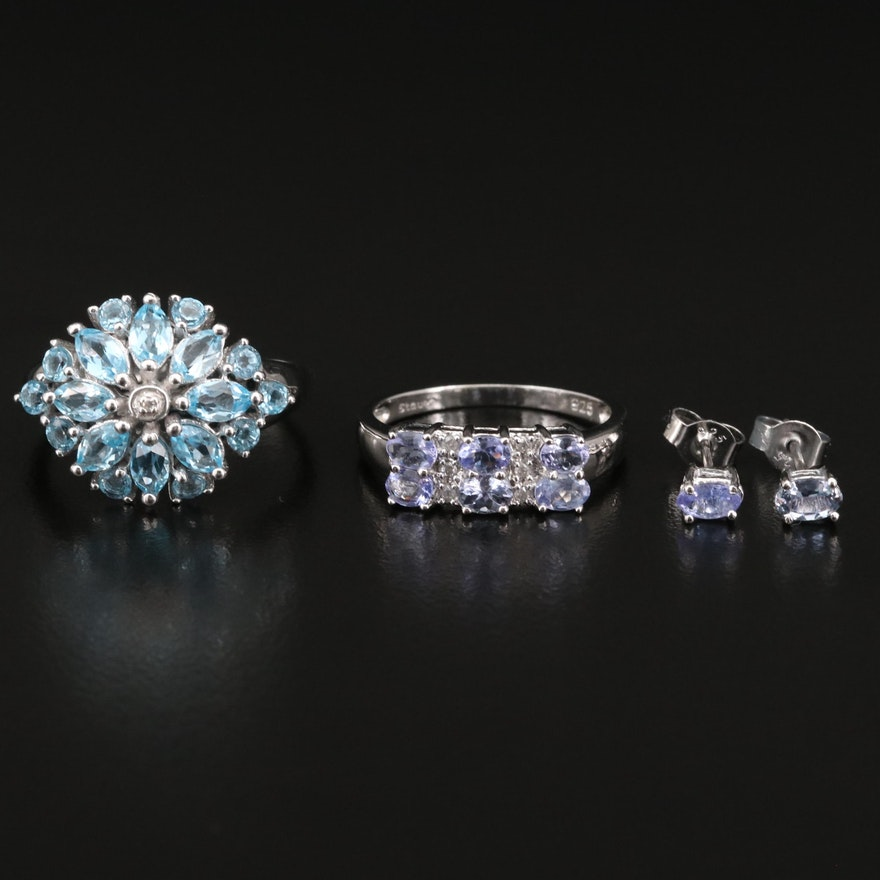 Sterling Jewelry Including Stauer Topaz, Tanzanite and Diamond Rings