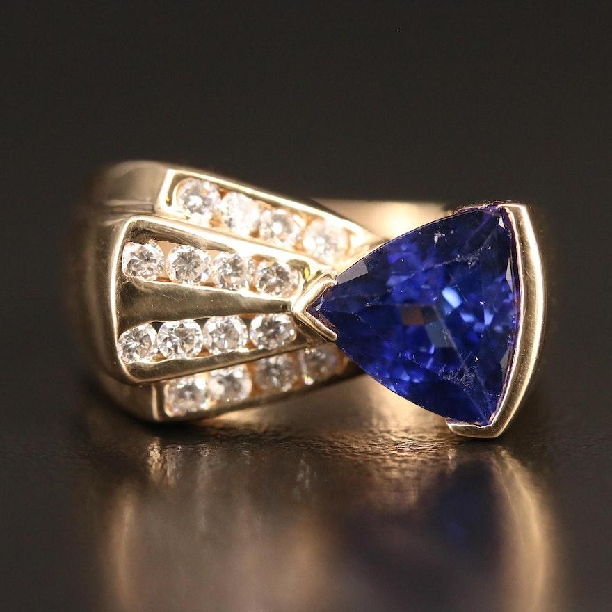 14K Tanzanite and Channel Set Diamond Ring