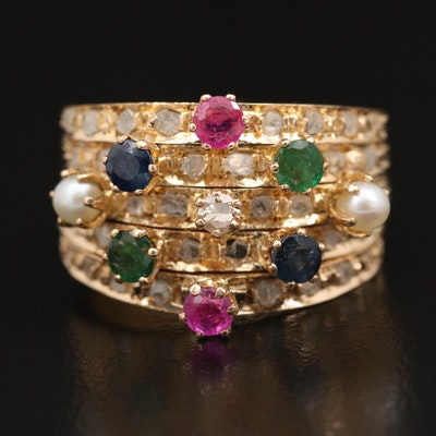 Vintage 18K Five Band Mixed Gemstone Harem Ring