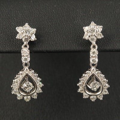 "14K 1.90 CTW ""Floating"" Diamond Dangle Earrings"