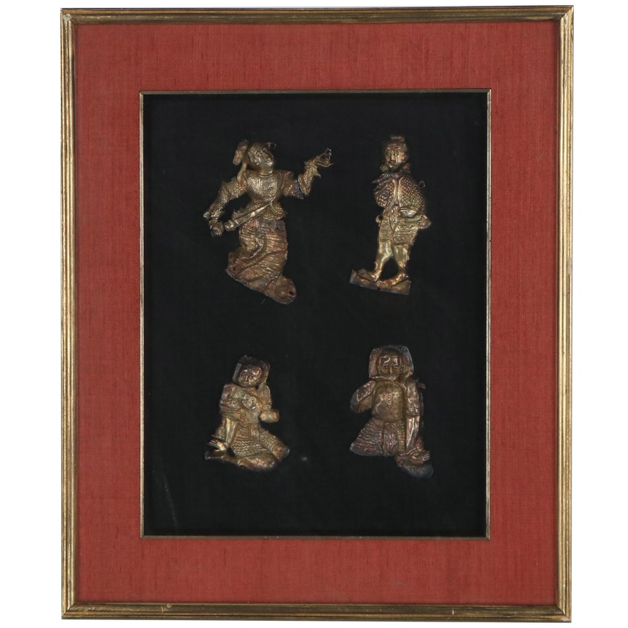 Burmese Repoussé Metal Figures, Late 20th Century