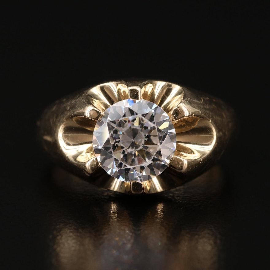 14K Cubic Zirconia Belcher Ring