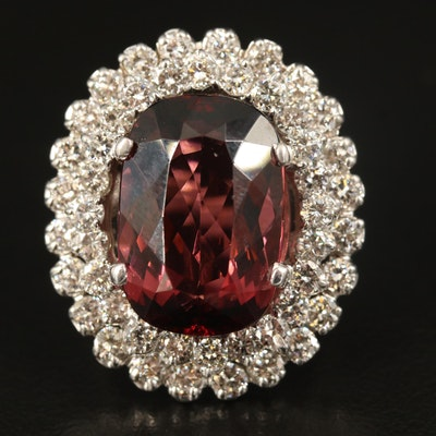 14K 13.31 CT Tourmaline Statement Ring with Double 3.12 CTW Diamond Halo