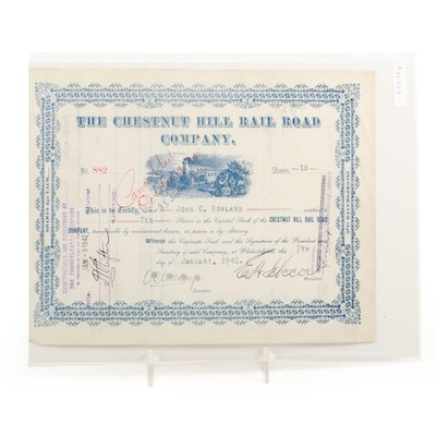 """The Chestnut Hill Rail Road Company"" 10 Shares Stock Certificate, 1942"