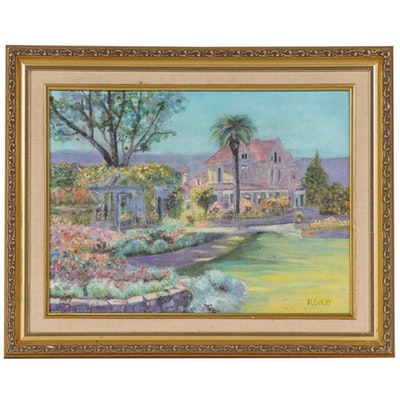 Floral Pastel Estate Landscape Oil Painting