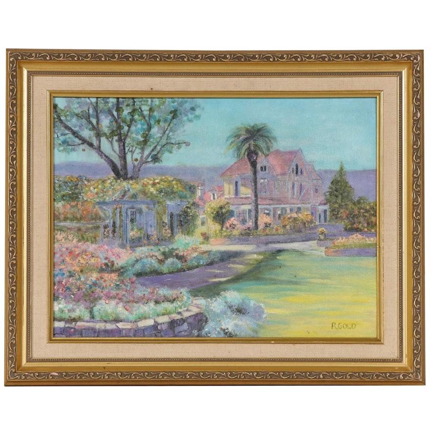Floral Pastel Estate Landscape Oil Painting