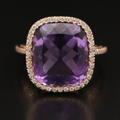 18K 9.68 CT Amethyst and Diamond Ring with Heart Detail