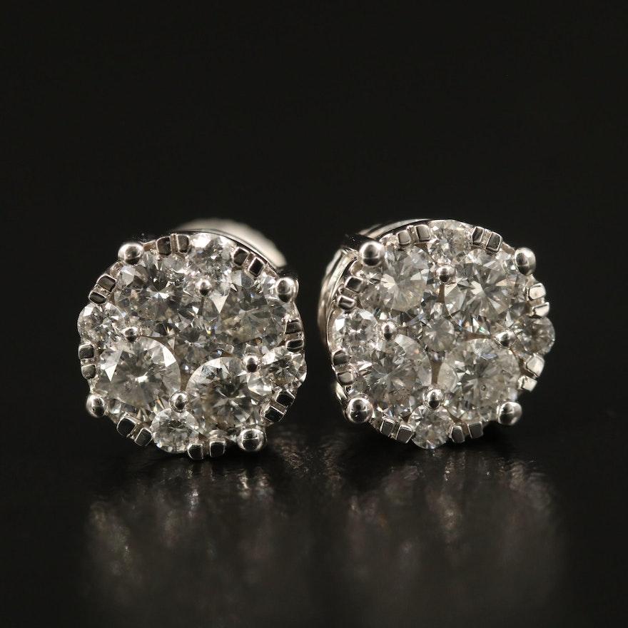 14K 1.67 CTW Diamond Stud Cluster Earrings