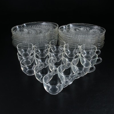"Federal Glass Company ""Homestead"" Glass Snack Sets, Mid-20th Century"