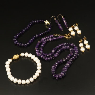 Amethyst and Pearl Jewelry Featuring Sterling Silver