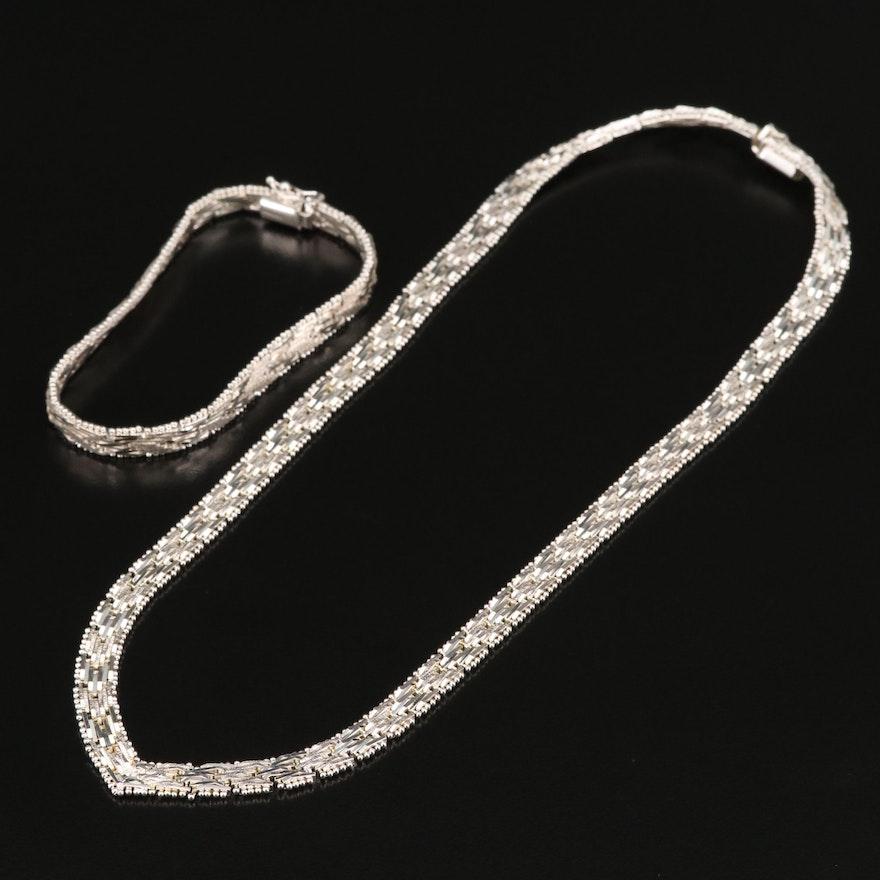 Italian Sterling Riccio Chain Chevron Necklace and Bracelet
