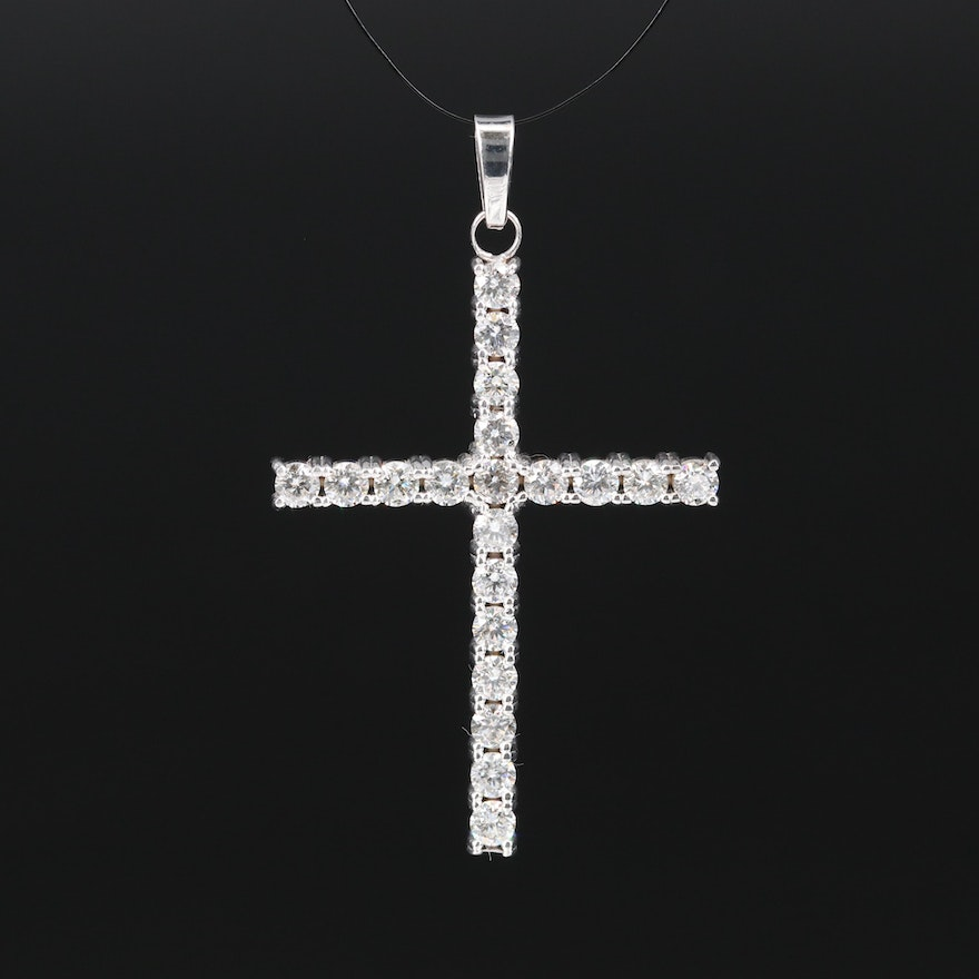14K 1.75 CTW Diamond Cross Pendant