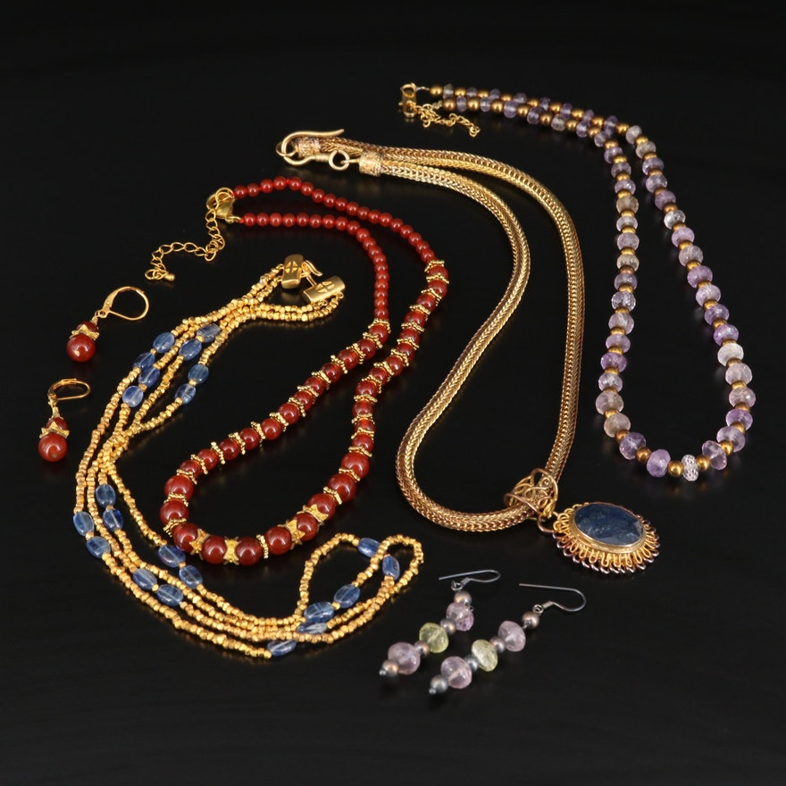 Necklaces and Earrings Featuring Sterling Silver and Mixed Gemstones