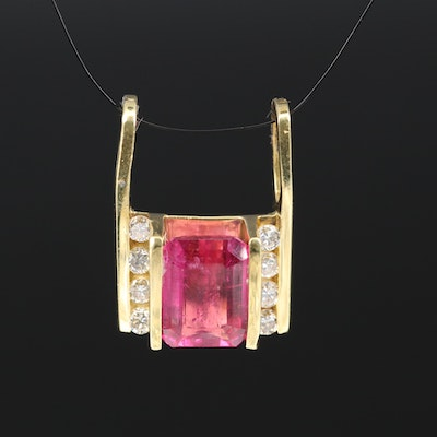 18K 4.35 CT Rubellite Tourmaline and Diamond Slide Pendant