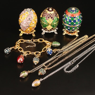 Enameled Egg Trinket Boxes with Matching Necklaces Plus Enameled Egg Bracelet