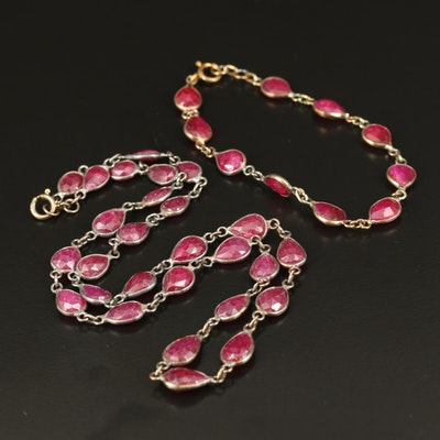 Sterling Corundum Station Necklace and Bracelet